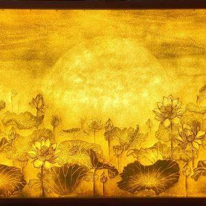 tranh giấy dừa mẫu hoa sen mẫu 1